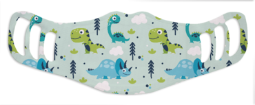 A washable and reusable polyester lovely dinosaurs printed cloth face mask for kids, with three ear holes by each side